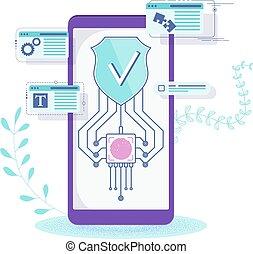 schild, security., beweeglijk, screen., telefoon, data