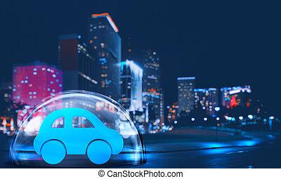 schild, stad, speelbal, binnen, bescherming, auto, concept, veilig, koepel, verzekering, night.