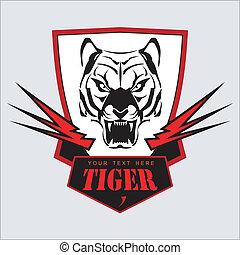 schild, tiger, light., hoofd