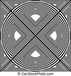 schild, tridimensional, magnetisch, pseudo, illusie, tourbine, achtergrond, arabesk, transparant