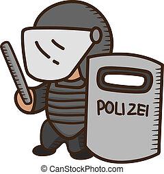 schild, vasthouden, politieagent