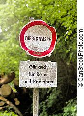 schild, verboden, bos, verbod, paardrijden, road.