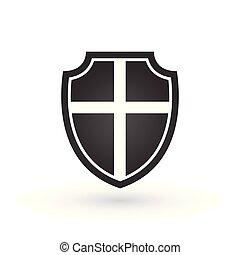 schild, vrijstaand, illustratie, achtergrond., vector, witte , crusaders