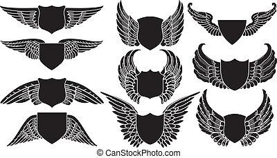 schilden, met, vleugels
