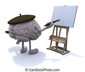 schilder, armen, benen, hersenen, menselijk