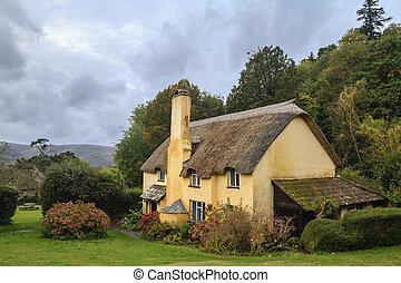 schilderachtig, thatched dak, huisje, in, selworthy
