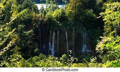 schilderachtig, watervallen, landschap, in, plitvice, meren,...