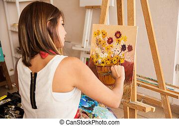 schilderij, bloemen, enig, vrouwlijk, kunstenaar