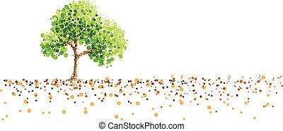 schilderij, boompje, punt, achtergrond, grond