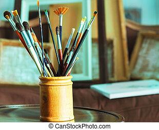 schilderij, borstels, closeup