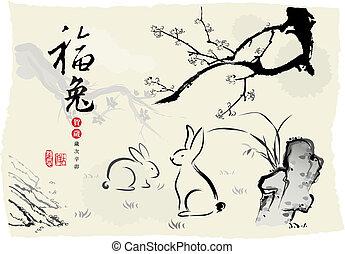 schilderij, chinese's, konijn, inkt