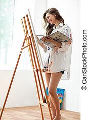 schilderij, doek, kunst, kunstenaar, studio, vrouw, mooi