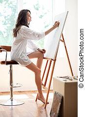 schilderij, doek, kunstenaar, mooi, vrouw, workshop