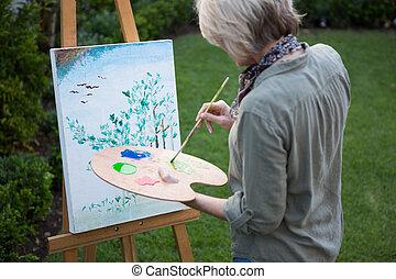 schilderij, doek, vrouw