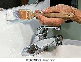 schilderij, een, badkamer