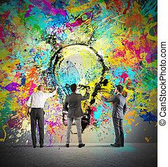 schilderij, een, nieuw, creatief, idee