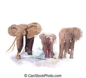 schilderij, gezin, elefant