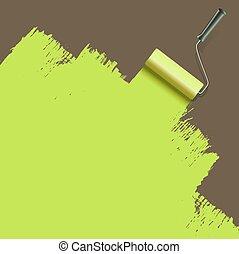 schilderij, groene, borstel, rol