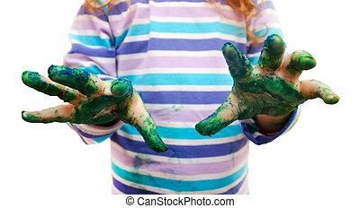 schilderij, handen