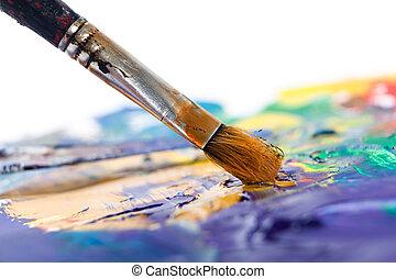 schilderij, iets, met, penseel