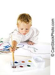 schilderij, kind