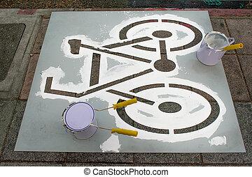 schilderij, laan, fiets
