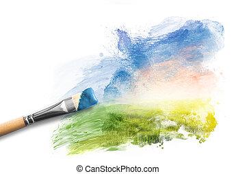 schilderij, lente, landscape