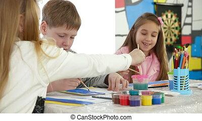 schilderij, school, groep, kinderen