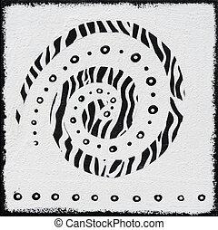 schilderij, stijl, black , witte , afrikaan