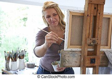schilderij, studio, vrouwlijk, kunstenaar