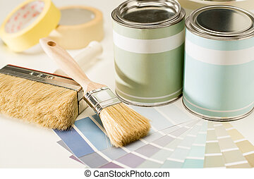 schilderij, toebehoren, borstel, groenteblik, en, swatch