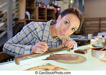 schilderij, vrouwlijk, kunstenaar