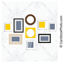 schilderijlijsten, foto, kunstgalerie, op, ouderwetse , wall., vector, eps10