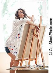 schildersezel, kunst, mooi, kunstenaar, het poseren, vrouwlijk, studio