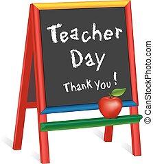 schildersezel, leraar, meldingsbord, dag, childrens