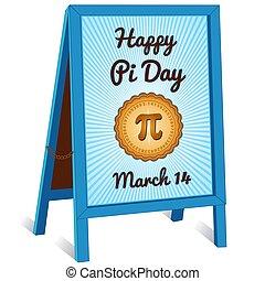 schildersezel, maart, 14, meldingsbord, het vouwen, trottoir, pi, dag