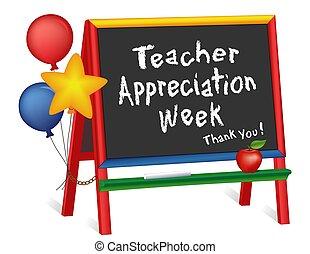 schildersezel, week, leraar, appreciatie, chalkboard, sterretjes, ballons, kinderen