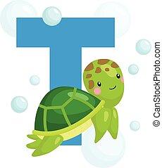 schildpad, alfabet, t