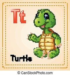 schildpad, alphabet:, dieren, t