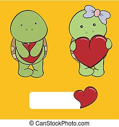 schildpad, baby, set, liefde, spotprent