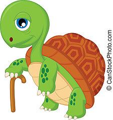 schildpad, bejaarden, spotprent