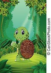 schildpad, duidelijk, groen bos