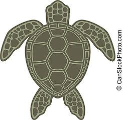 schildpad, groene, zee