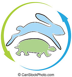 schildpad, haas, hardloop, cyclus