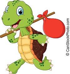 schildpad, het reizen, spotprent