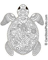 schildpad, kleuren, zee, volwassenen, vector