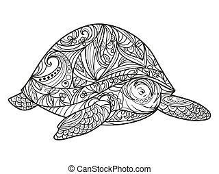 schildpad, kleurend boek, voor, volwassenen, vector