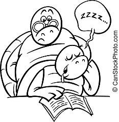 schildpad, les, kleuren, pagina, slapende