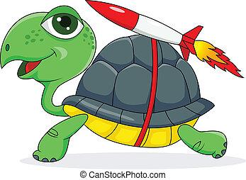 schildpad, met, een, raket