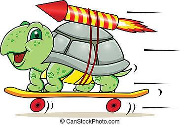 schildpad, met, raket